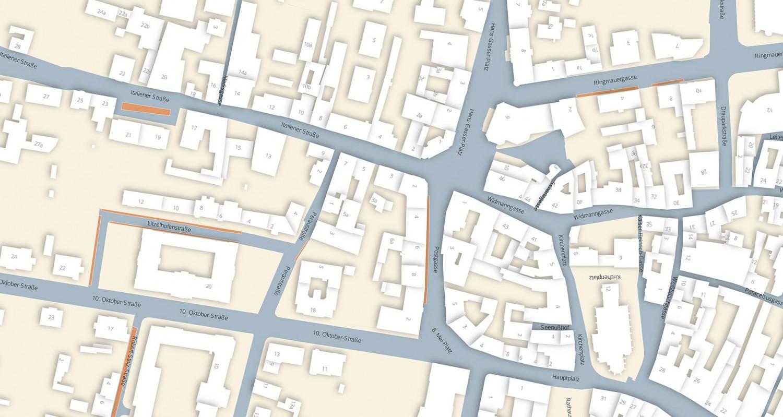 Ein Plan des Hans Gaser Platz Viertels